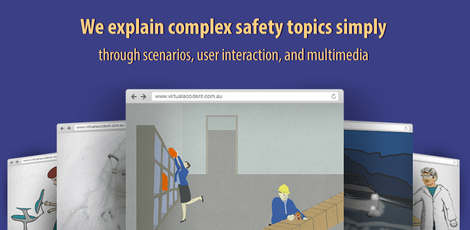 Image showing sample screens of Virtual Accident OHS elearning courses.